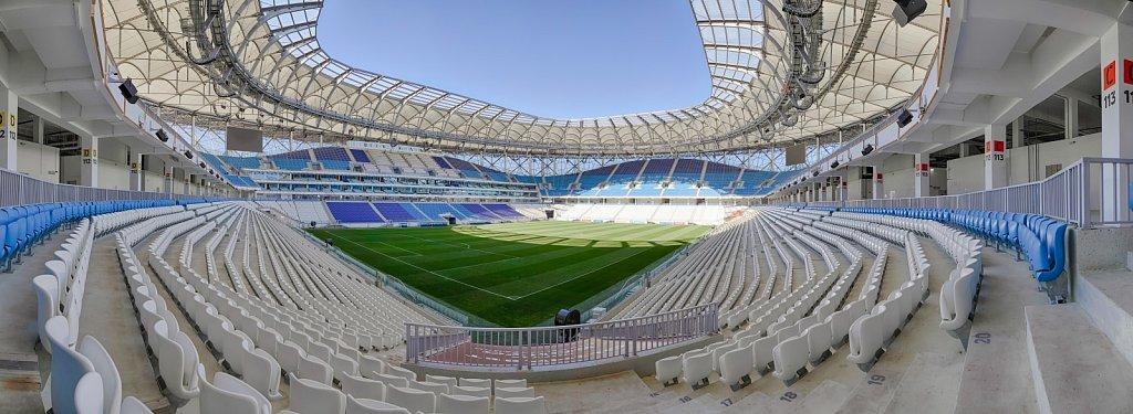 Футбольный стадион Волгоград Арена. Панорама чаши стадиона