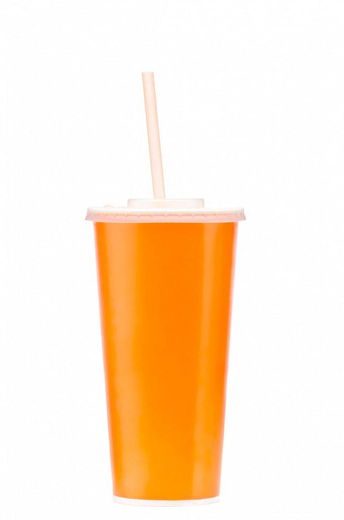 Бумажный стакан для прохладительного напитка с крышкой и соломинкой